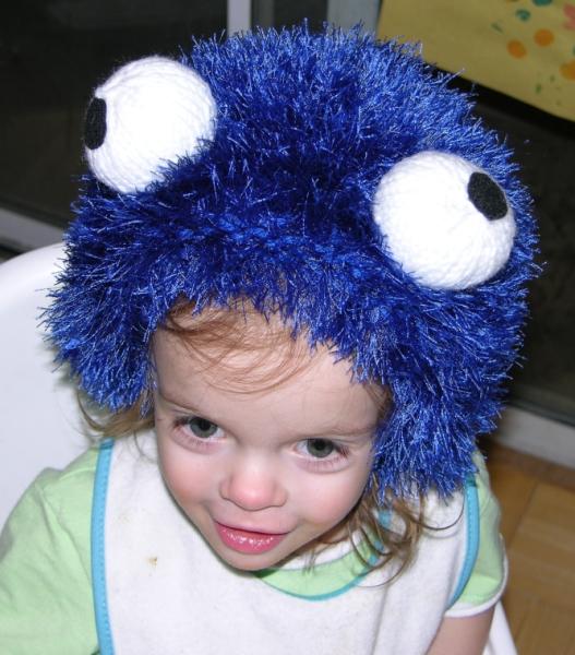 Monster Hat Knitting Pattern : Free Knitting Patterns - Blue Fuzzy Monster Who Likes Baked Goods Hat - Kimbe...