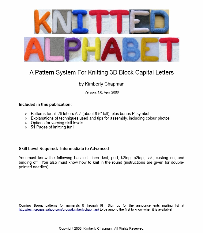 Knitting Pattern Block Letters : Knitting Patterns - 3D Alphabet - Kimberly Chapmans Knitting