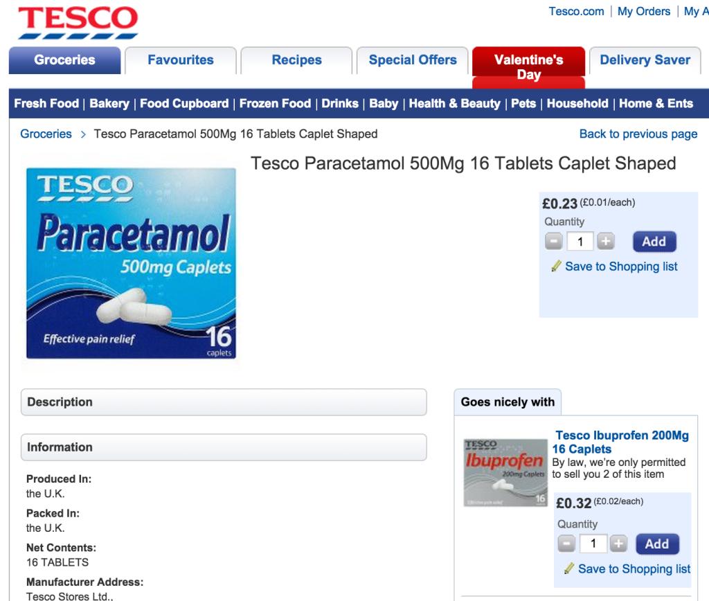 Tesco recommends pairing paracetamol and ibuprofen