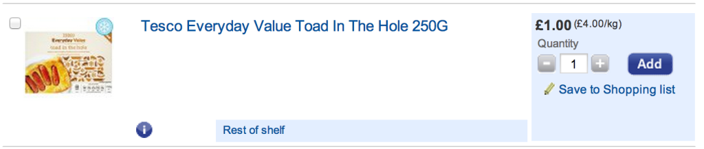 Tesco everyday value toad in the hole