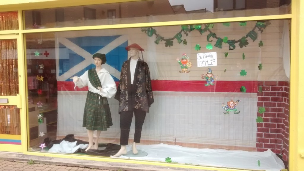 St. Patrick's Day display with wrong things in it